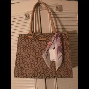Calvin Klein Bags - Calvin Klein brown purse with scarf accent
